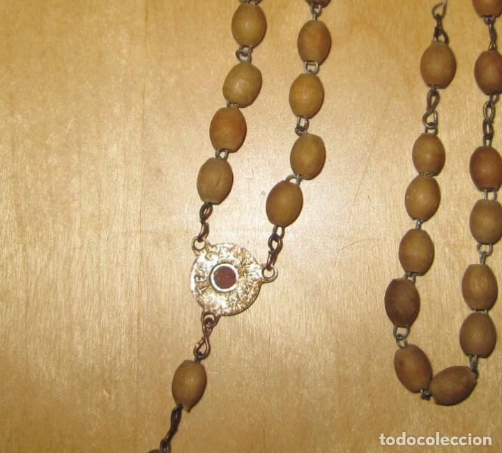 Antigüedades: Cruz peana madera antiguo rosario Jerusalem reliquia relicario Tierra Santa - Foto 5 - 194338038