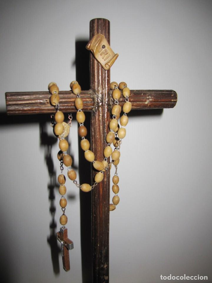 Antigüedades: Cruz peana madera antiguo rosario Jerusalem reliquia relicario Tierra Santa - Foto 6 - 194338038