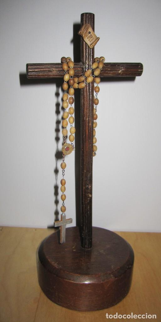 Antigüedades: Cruz peana madera antiguo rosario Jerusalem reliquia relicario Tierra Santa - Foto 7 - 194338038