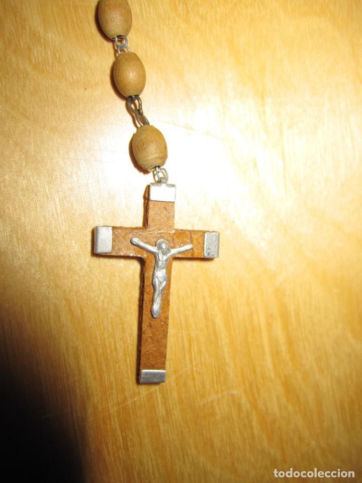 Antigüedades: Cruz peana madera antiguo rosario Jerusalem reliquia relicario Tierra Santa - Foto 8 - 194338038