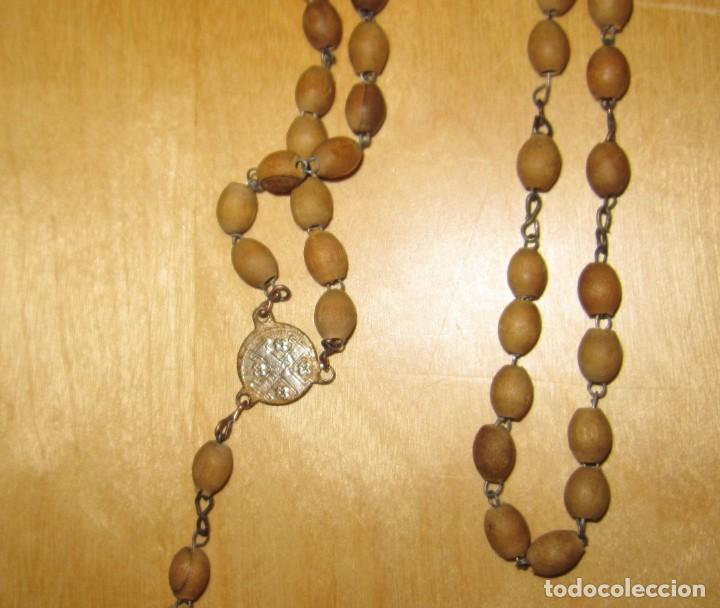 Antigüedades: Cruz peana madera antiguo rosario Jerusalem reliquia relicario Tierra Santa - Foto 9 - 194338038
