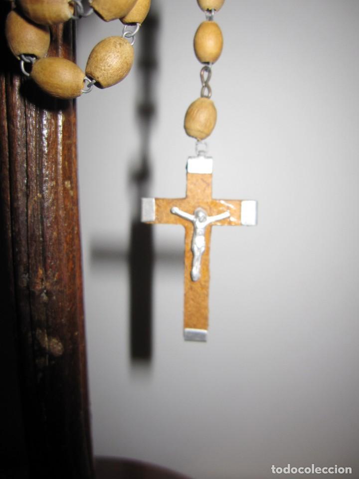 Antigüedades: Cruz peana madera antiguo rosario Jerusalem reliquia relicario Tierra Santa - Foto 11 - 194338038
