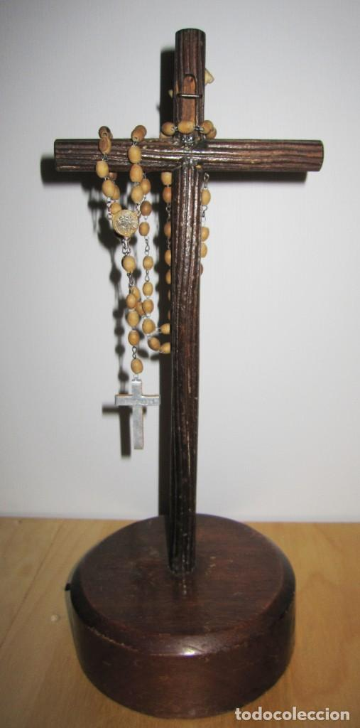 Antigüedades: Cruz peana madera antiguo rosario Jerusalem reliquia relicario Tierra Santa - Foto 16 - 194338038
