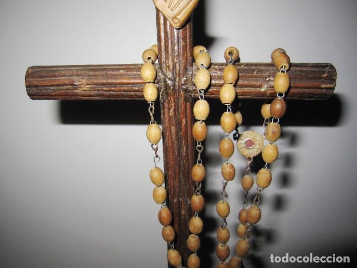 Antigüedades: Cruz peana madera antiguo rosario Jerusalem reliquia relicario Tierra Santa - Foto 17 - 194338038