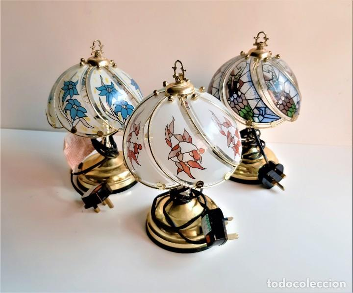 BONITAS 3 LAMPARAS DE MESA DECORATIVAS CRISTALERAS Y LATON - 28.CM ALTO X 17.CM DIAMETRO (Antigüedades - Iluminación - Lámparas Antiguas)