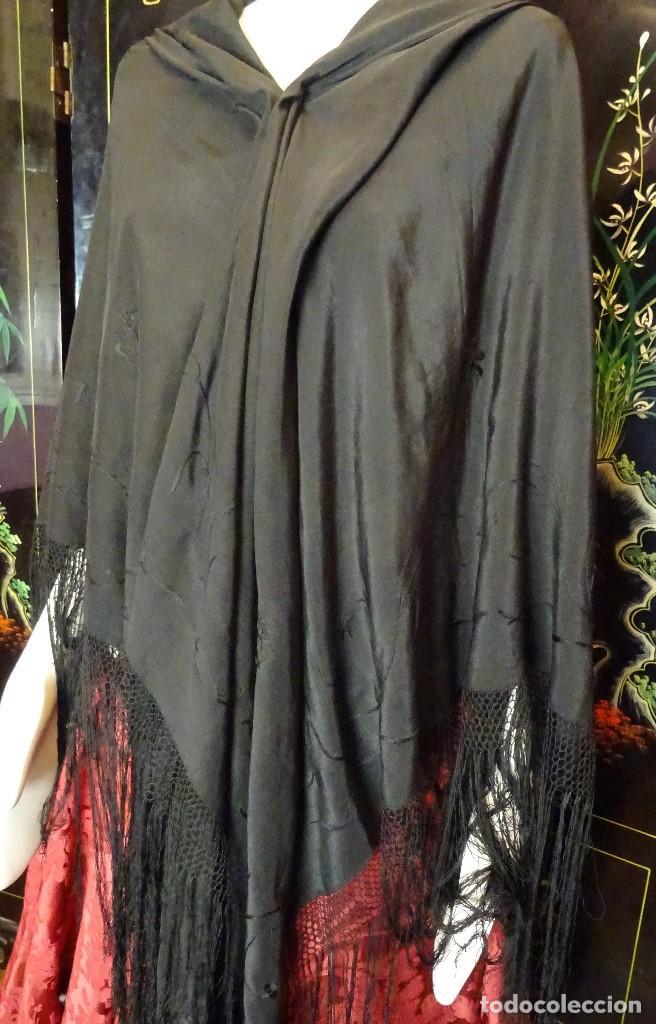 Antigüedades: Manton Negro Bordado - Foto 4 - 194345660