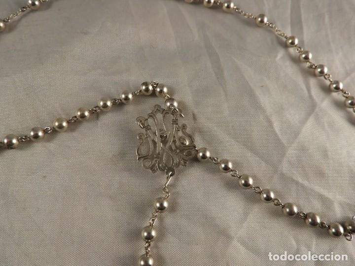 Antigüedades: ROSARIO DE PLATA CON CRISTO EN LA CRUZ - Foto 5 - 194349112