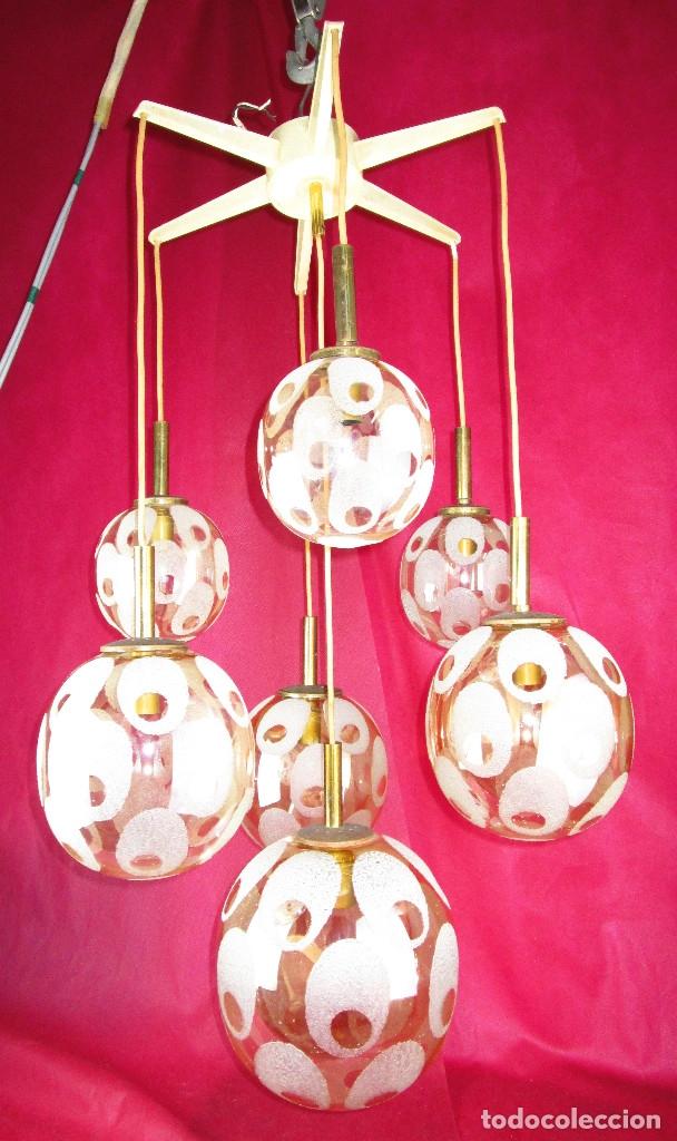 Antigüedades: ELEGANTISIMA LAMPARA ART DECO EN LATON OPALINA GEOMETRICA Y MADERA CRICA 1900 - Foto 7 - 194350792