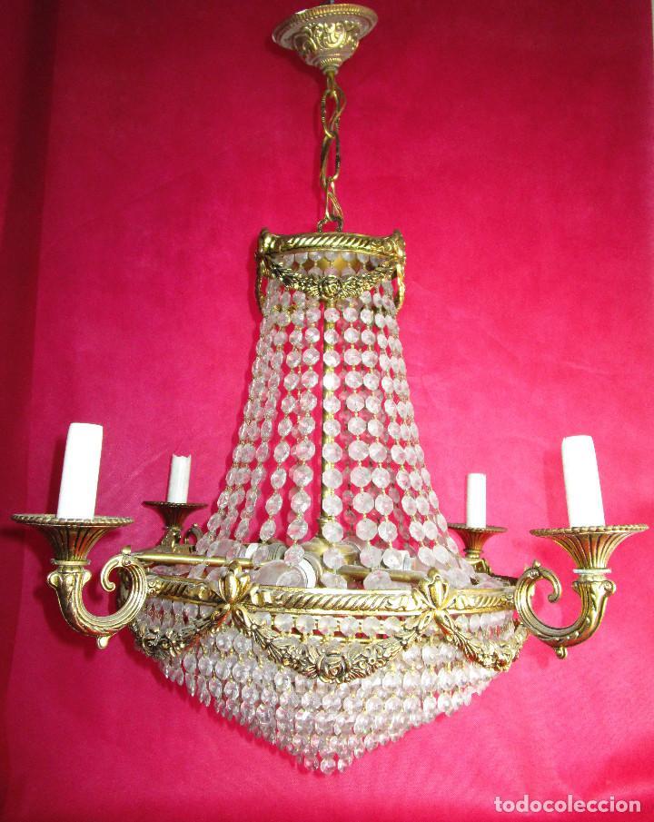 Antigüedades: ELEGANTISIMA LAMPARA ART DECO EN LATON OPALINA GEOMETRICA Y MADERA CRICA 1900 - Foto 9 - 194350792