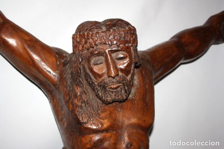 Antigüedades: IMPRESIONANTE CRISTO - ARTE POPULAR - 1O9 CM - ESCUELA ARAGONESA. - Foto 6 - 194354903