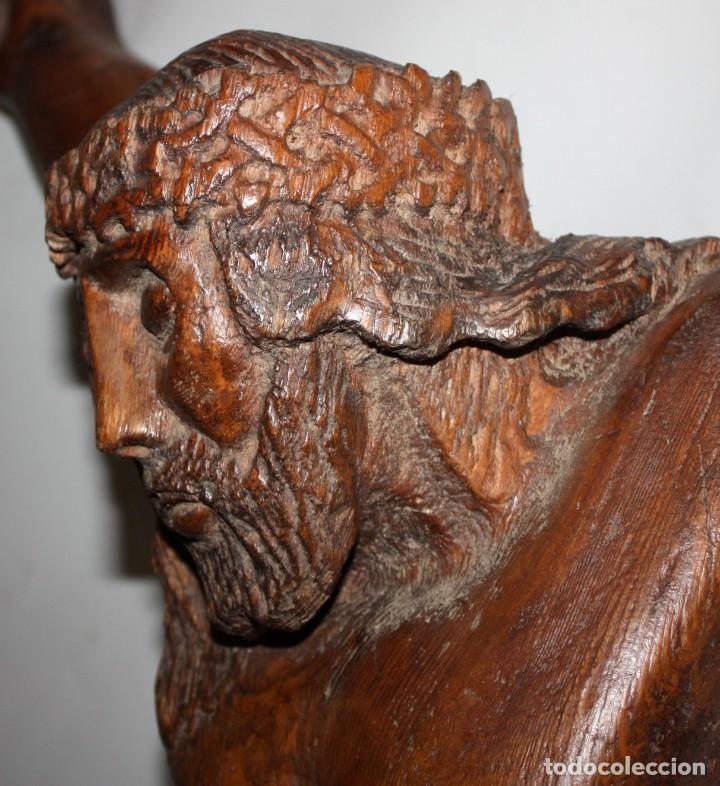 Antigüedades: IMPRESIONANTE CRISTO - ARTE POPULAR - 1O9 CM - ESCUELA ARAGONESA. - Foto 12 - 194354903