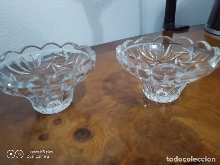 Antigüedades: Lote dos portavelas cristal - Foto 2 - 194358110