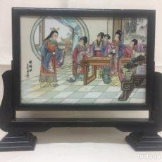 Antigüedades: AZULEJO O PANEL ANTIGUO DE PORCELANA CHINA. FIRMADO.. Lote 194361542