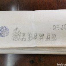Antigüedades: TELA ANTIGUA PARA SÁBANA VIUDA DE JOSÉ TOLRÁ 100% ALGODÓN 210 CM X 36 M. Lote 194361971