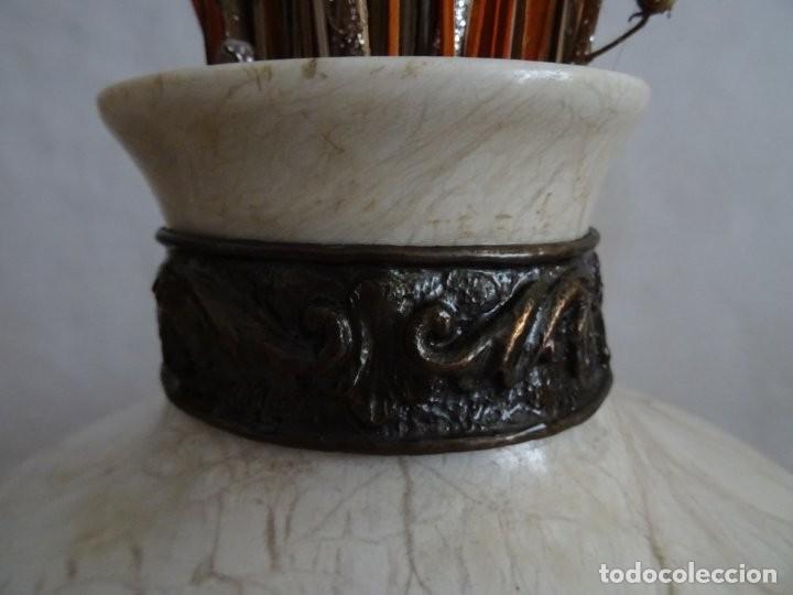 Antigüedades: JARRÓN DE MARMOL, CON APLIQUES DE METAL - ANTIGUO - Foto 4 - 194363171