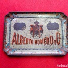 Antigüedades: BANDEJA DEL SIGLO XIX EN CHAPA DE BODEGAS ALBERTO ROMERO Y CÍA. JEREZ DE LA FRONTERA. Lote 194370002