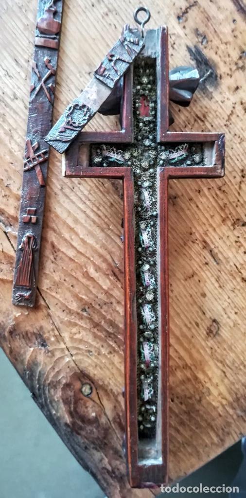 Antigüedades: Crucifijo relicario de finales del 18 - Foto 2 - 194373700