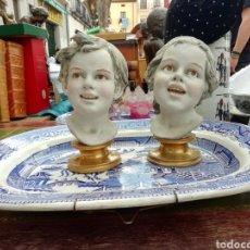 Antigüedades: VINTAGE BENACCHIO TRIADE ITALIANO NIÑA & NIÑO BISCUIT BUSTOS ESTATUILLAS DE ITALIA 1980. Lote 194374283
