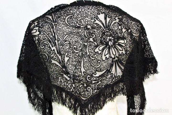 Antigüedades: 506A - Gran Chal chalina estola bordada sobre tul - Francia fines SXIX - Foto 2 - 194376662