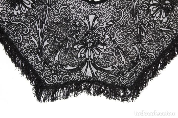 Antigüedades: 506A - Gran Chal chalina estola bordada sobre tul - Francia fines SXIX - Foto 9 - 194376662