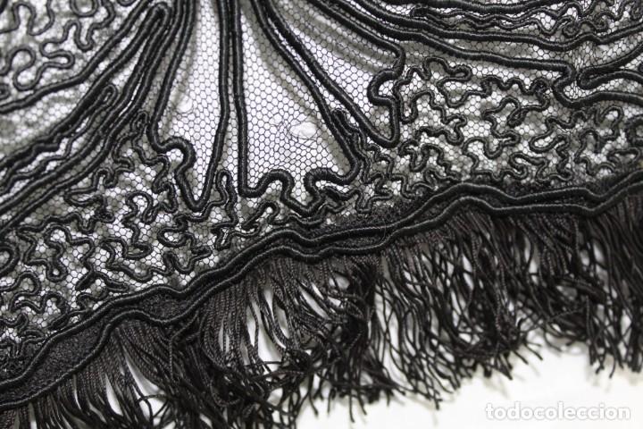 Antigüedades: 506A - Gran Chal chalina estola bordada sobre tul - Francia fines SXIX - Foto 11 - 194376662