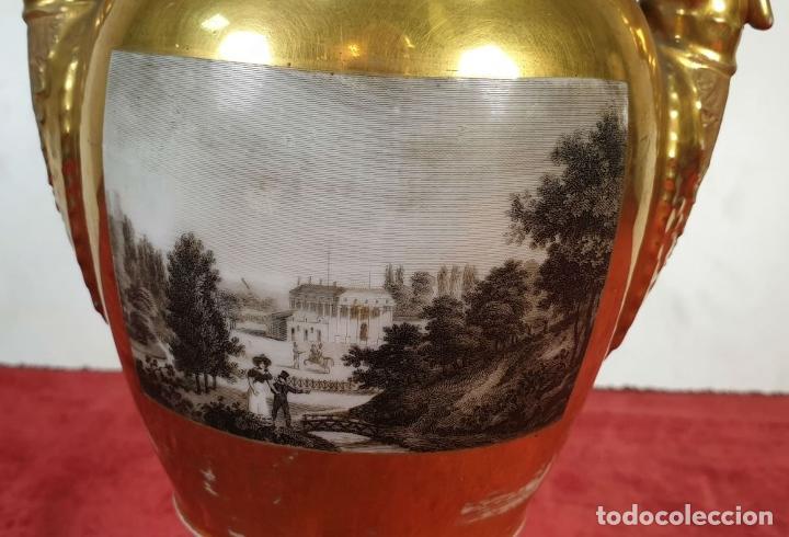 Antigüedades: JARRÓN EN PORCELANA ESMALTADA. ESCENA GALANTE. VIEJO PARIS. FRANCIA. SIGLO XIX. - Foto 9 - 194390508