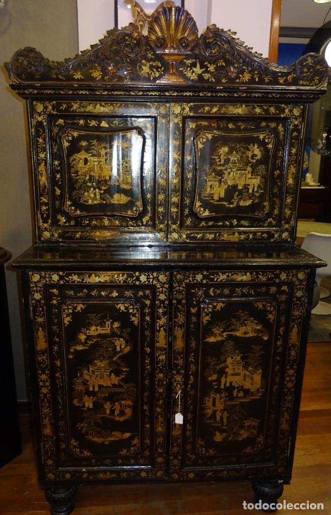 Antigüedades: Cabinet Chino, S.XVIII, lacado y dorado - Foto 4 - 194392393