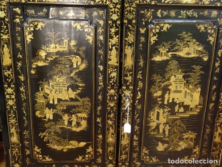 Antigüedades: Cabinet Chino, S.XVIII, lacado y dorado - Foto 5 - 194392393