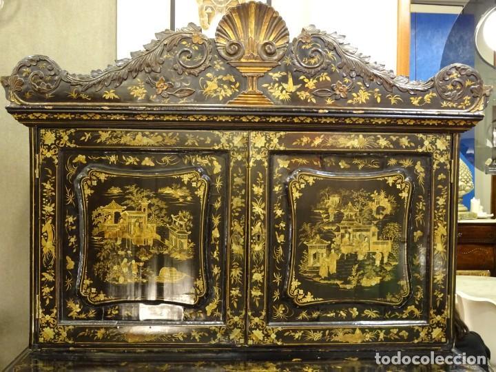 Antigüedades: Cabinet Chino, S.XVIII, lacado y dorado - Foto 6 - 194392393