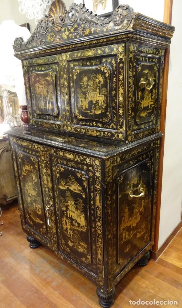 Antigüedades: Cabinet Chino, S.XVIII, lacado y dorado - Foto 9 - 194392393