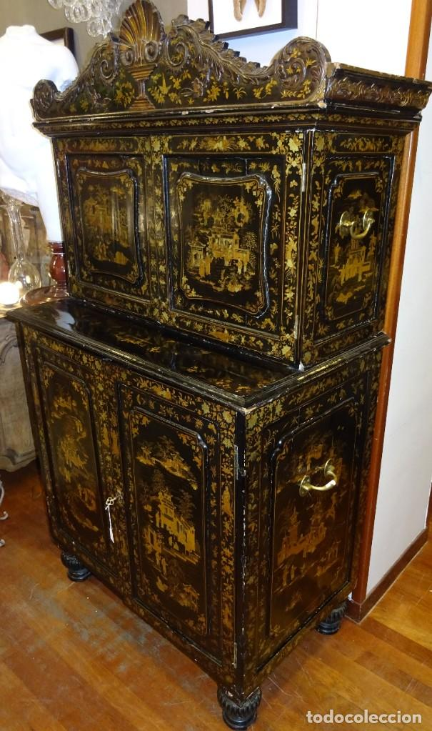 Antigüedades: Cabinet Chino, S.XVIII, lacado y dorado - Foto 10 - 194392393