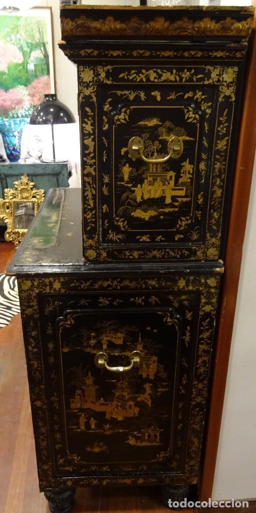 Antigüedades: Cabinet Chino, S.XVIII, lacado y dorado - Foto 11 - 194392393