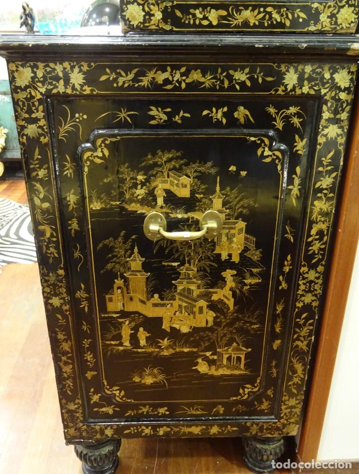 Antigüedades: Cabinet Chino, S.XVIII, lacado y dorado - Foto 12 - 194392393