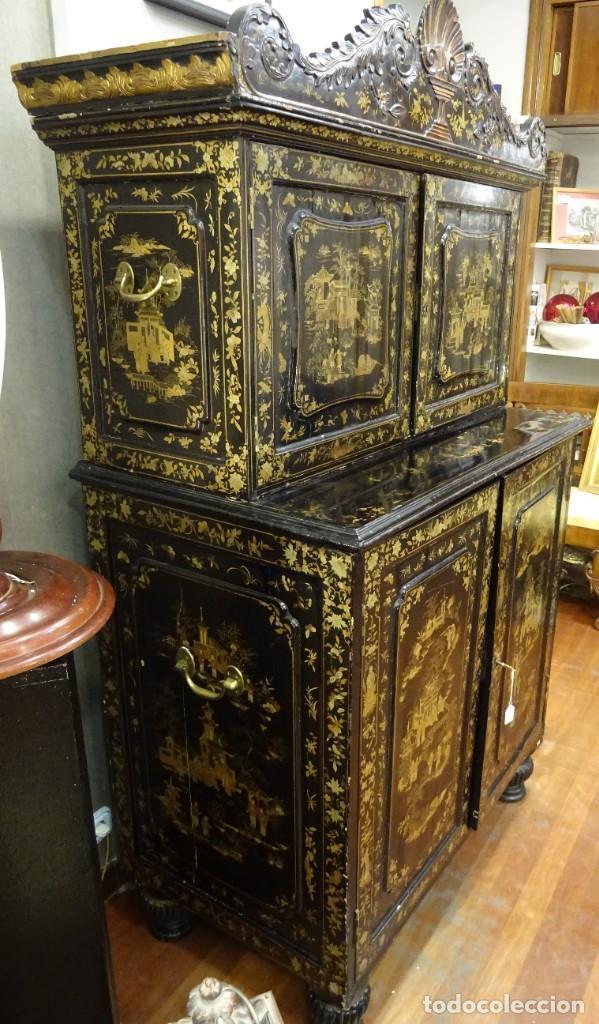 Antigüedades: Cabinet Chino, S.XVIII, lacado y dorado - Foto 14 - 194392393
