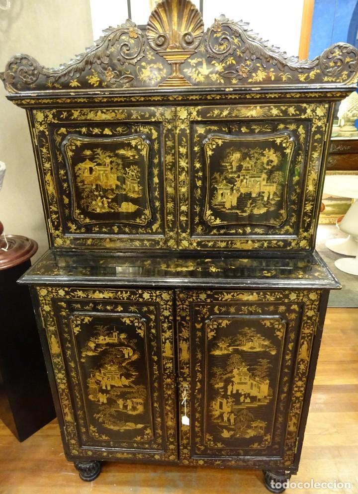 Antigüedades: Cabinet Chino, S.XVIII, lacado y dorado - Foto 27 - 194392393