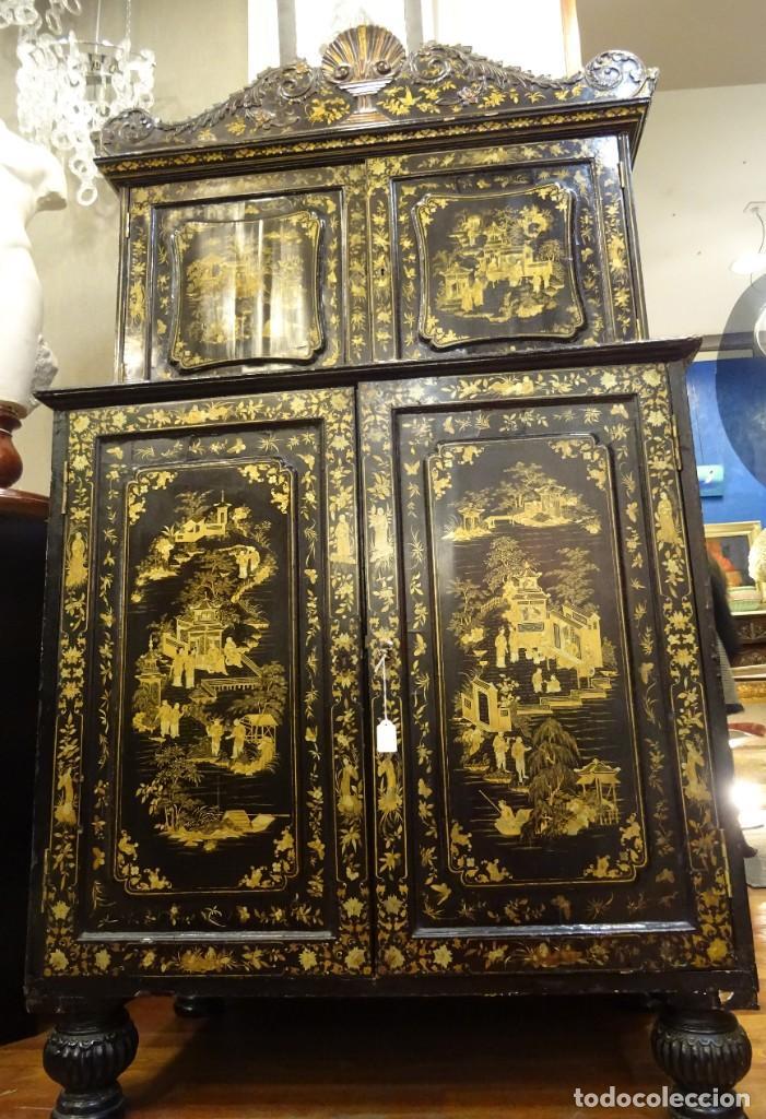 Antigüedades: Cabinet Chino, S.XVIII, lacado y dorado - Foto 28 - 194392393