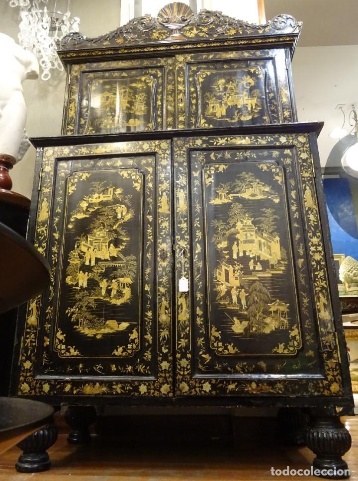 Antigüedades: Cabinet Chino, S.XVIII, lacado y dorado - Foto 29 - 194392393
