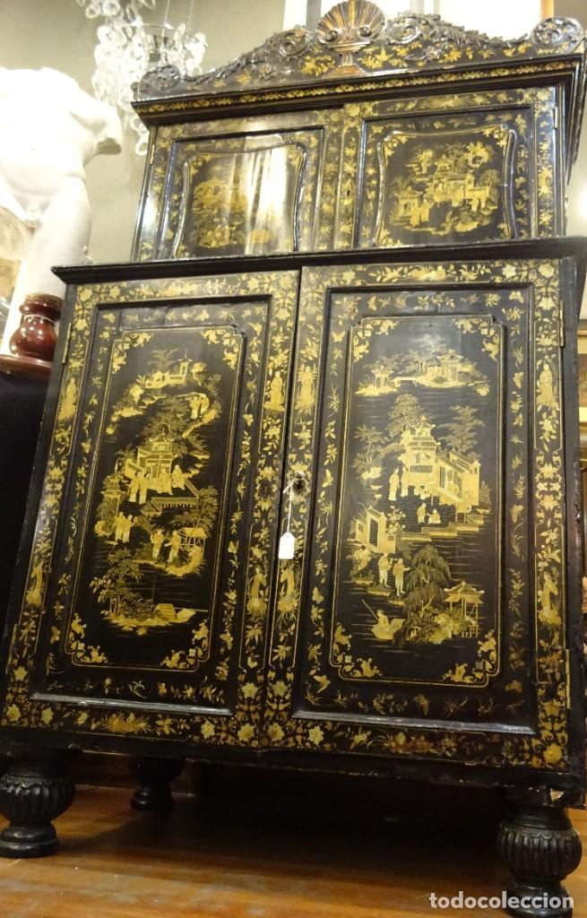 Antigüedades: Cabinet Chino, S.XVIII, lacado y dorado - Foto 30 - 194392393