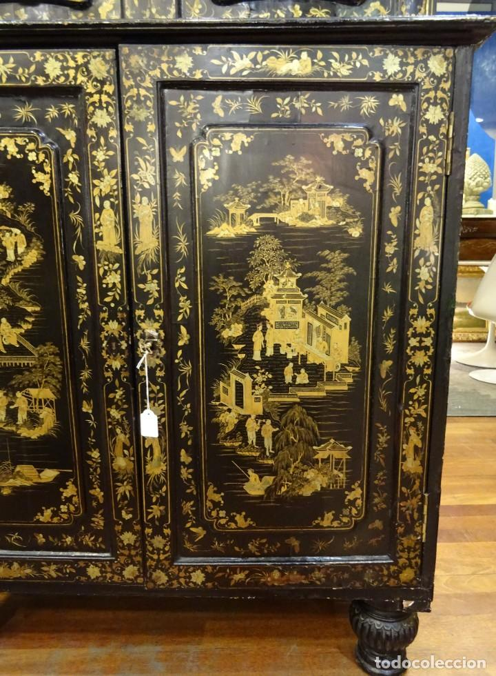 Antigüedades: Cabinet Chino, S.XVIII, lacado y dorado - Foto 35 - 194392393