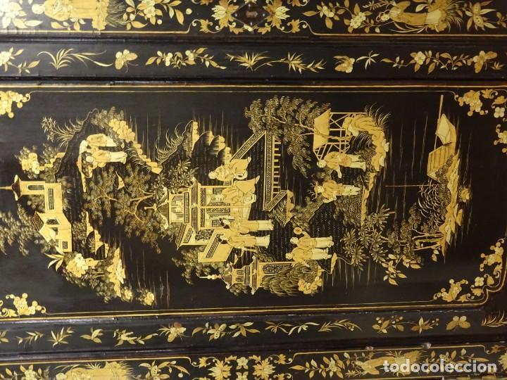 Antigüedades: Cabinet Chino, S.XVIII, lacado y dorado - Foto 37 - 194392393