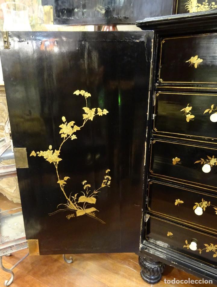 Antigüedades: Cabinet Chino, S.XVIII, lacado y dorado - Foto 48 - 194392393