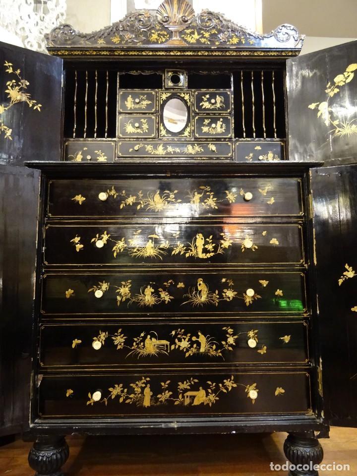 Antigüedades: Cabinet Chino, S.XVIII, lacado y dorado - Foto 49 - 194392393