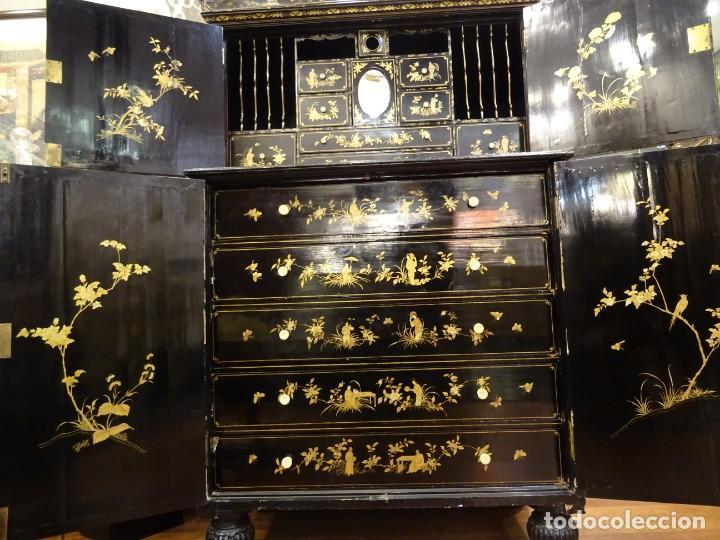 Antigüedades: Cabinet Chino, S.XVIII, lacado y dorado - Foto 50 - 194392393