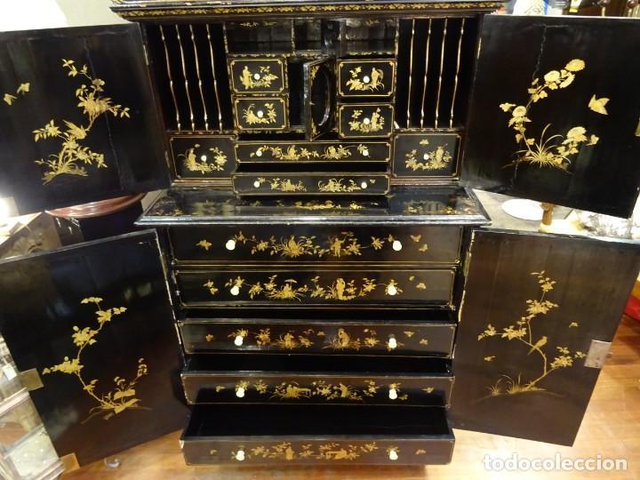 Antigüedades: Cabinet Chino, S.XVIII, lacado y dorado - Foto 58 - 194392393