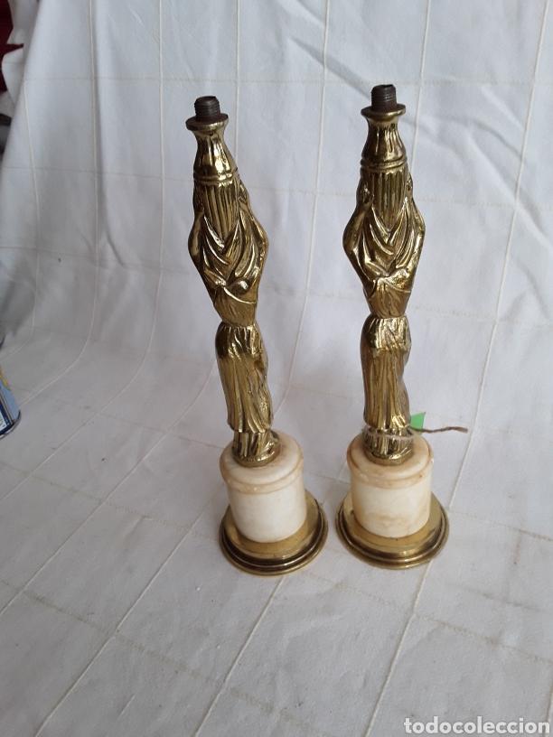 Antigüedades: Dos pies de lampara bronce y marmol con diosa Cariatides - Foto 2 - 194396235