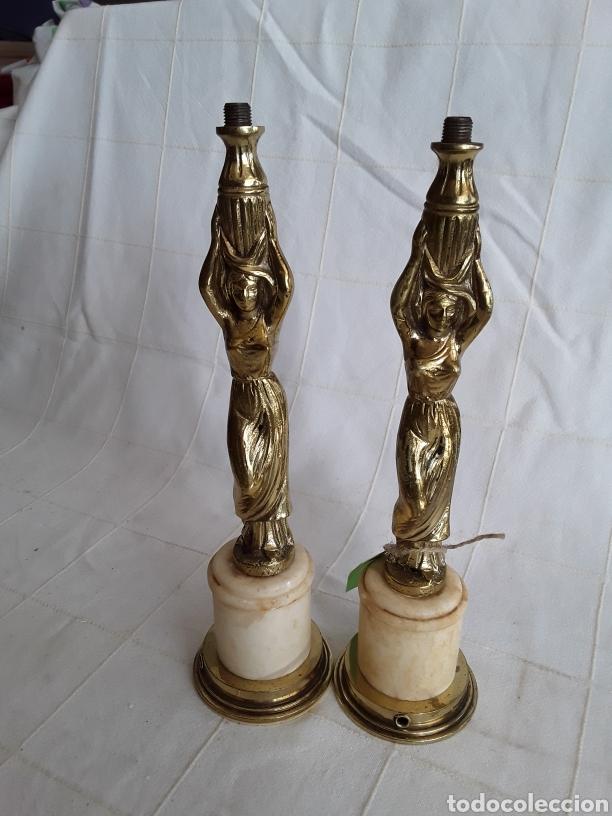 DOS PIES DE LAMPARA BRONCE Y MARMOL CON DIOSA CARIATIDES (Antigüedades - Iluminación - Lámparas Antiguas)