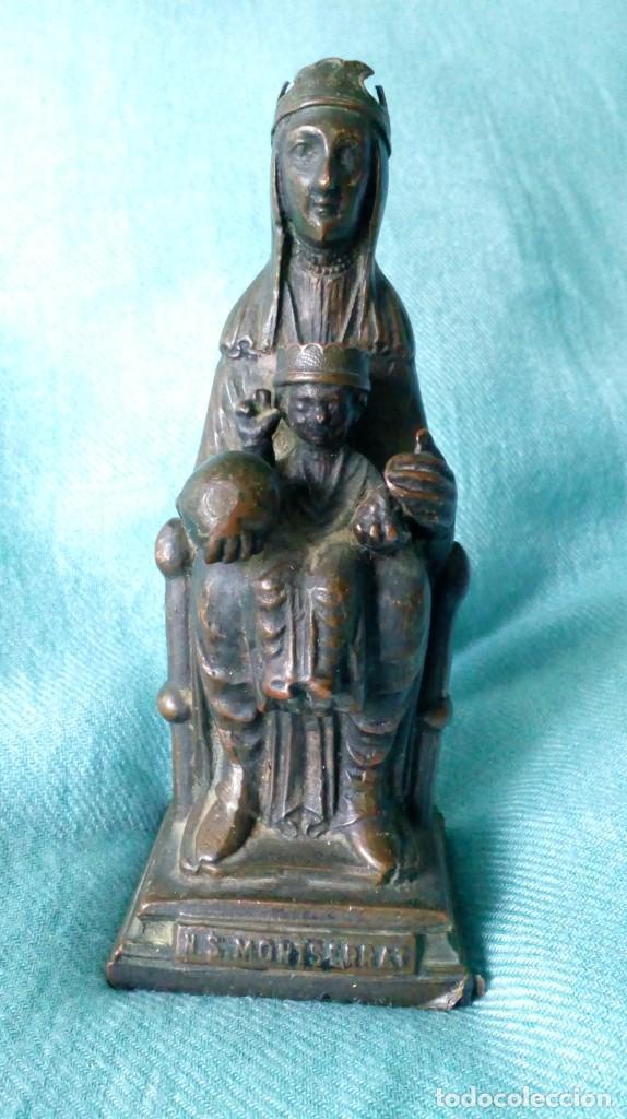 ANTIGUA VIRGEN DE MONTSERRAT DE METAL (Antigüedades - Religiosas - Varios)