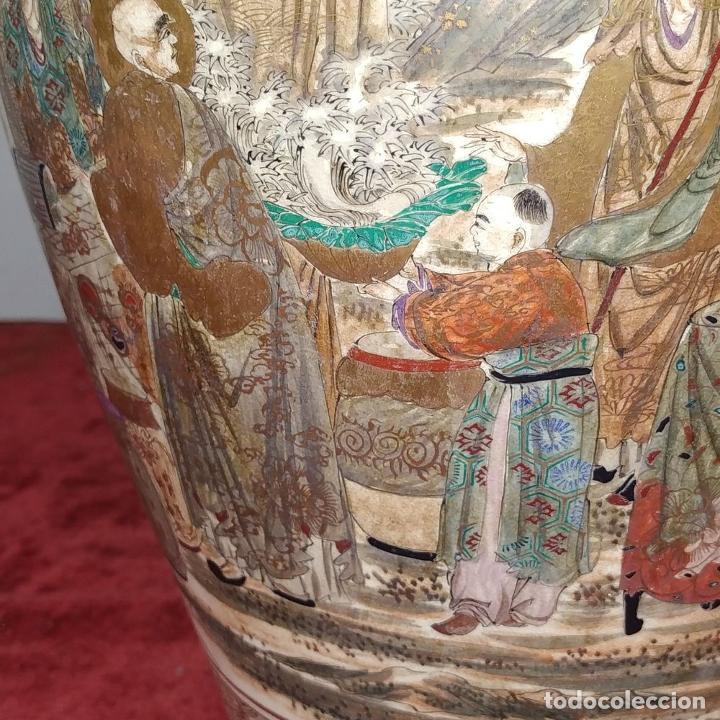 Antigüedades: GRAN JARRÓN SATSUMA. PORCELANA ESMALTADA Y DORADA. JAPÓN. SIGLO XIX - Foto 21 - 183898196