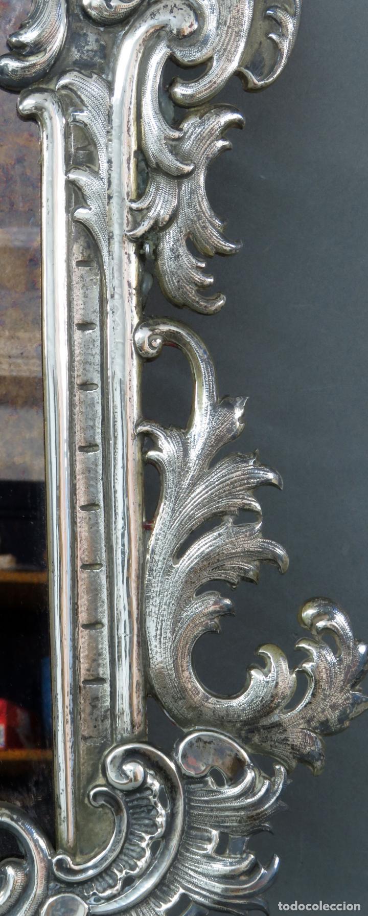 Antigüedades: Espejo con marco en plata cincelada con marcas platería Martinez hacia 1900 - Foto 3 - 194407070