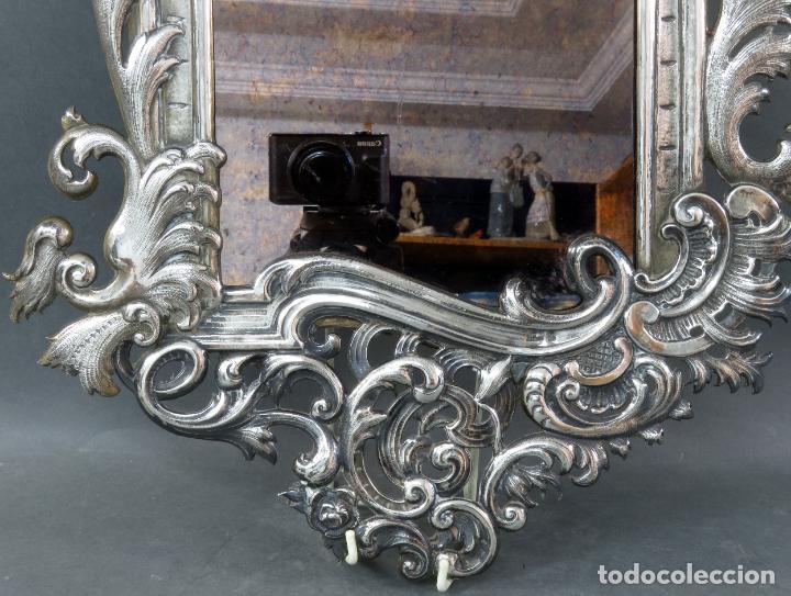 Antigüedades: Espejo con marco en plata cincelada con marcas platería Martinez hacia 1900 - Foto 4 - 194407070